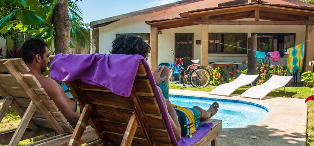 Gorgeous and quiet garden studio complex only 150 meters from the beautiful Santa Teresa Beach, yet within a walk from the area's many restaurants and shops. The studio is elegantly furnished, w/ AC & WIFI, tucked in a beautiful garden with a Pool. Santa Teresa, Costa Rica